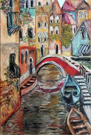 venice streets colorful fine art oil painting stock photo 87653945