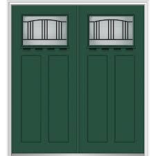 painted double front door. Interesting Double MMI DOOR Craftsman Decorative Glass LeftHand Inswing Hunter Green Painted  Fiberglass Prehung Double Entry To Front Door