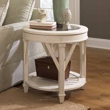 hammary t promenade round end table in antique linen