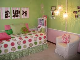 bedroom pink and green bubble bedding set and white fabric chair on the carpet connected