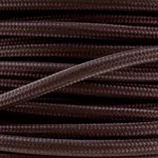 fabric lighting cable 3 core. Coloured Cord. Fabric Lighting Cable In A Dark Brown Finish. Round 3 Core Flex G