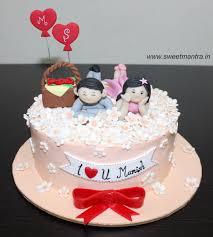 Love Couple Valentine Theme Small Designer Fondant Cake With