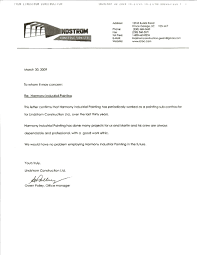 Letter Of Recommendation Sample Construction Company