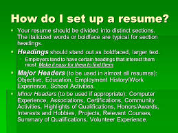 how do you set up a resumes high school student resume ppt video online download