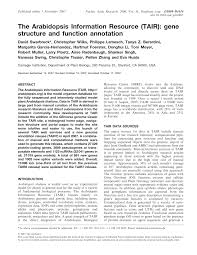 The Arabidopsis Information Resource (TAIR): gene structure and ...