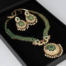 New Imitation Jewellery Designs Semi Precious Stones Artificial Kundan Jewellery Designs With Emerald Stones