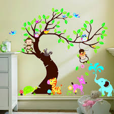 Wall Decor Sticker Large Size Forest Park Tree Animals Giraffe Owl Lion Wall Stickers