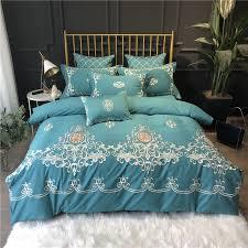 winter bedding set embroidery duvet cover flat sheet 2 pillowcases luxury