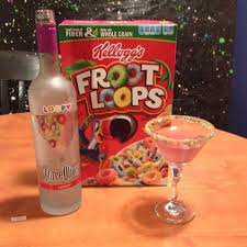 loopy martini with crushed fruit loops on the rim made with fruit loop flavored vodka um yes