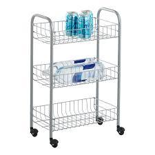 Silver 3-Tier Siena Rolling Cart ...