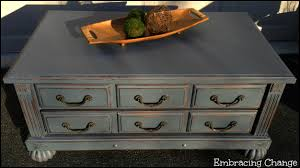 Hurricane colored coffee table #DIY #paintedfurniture #vintage -  www.countrychicpaint.com