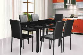 Helen Black Glass Extending Dining Table And 4 Or 6 Chairs Dining