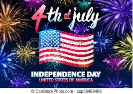 Independence Day Background With American Flag And Fireworks On Dark Sky 4th Of July Illustration Vector