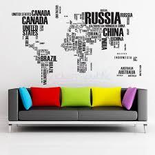a words world map wall sticker contemporary art websites wall decal of world map