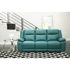 abbyson leyla turquoise top grain leather reclining sofa free today 22398232
