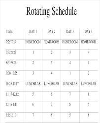Professional Schedule Template Rotating Weekend Schedule Template