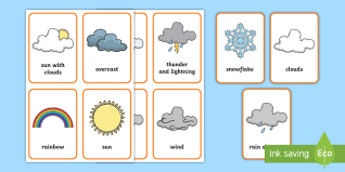 Great for math centers or morning baskets.cards are approximately 4.5 x 3.5 check out our letter cards too.for personal or single classroom use. Weather Flashcards For Preschool Weather Pictures