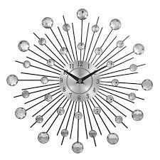 vintage metal crystal sunburst wall clock luxury diamond large morden wall clock da parete clock design home decor wandklok black clocks for kitchen black