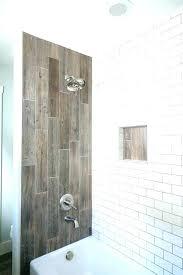 wood tile bathroom shower wood look stripe pattern brick