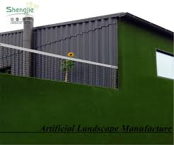 Plastic Soft Turf Artificial Grass Wall With Green Color For