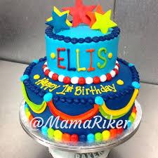 7 Birthday Cakes Buttercream With Orange And Blue Photo Orange