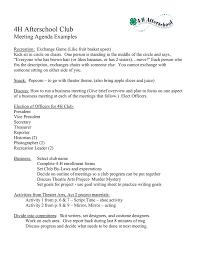 Work Meeting Agenda 4h Afterschool Club Meeting Agenda Examples