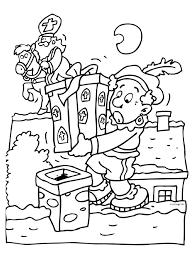Kleurplaat Sint En Piet Op Het Dak Kleurplatennl