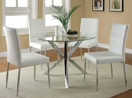 dining room silver metal and glass dining table set also four lovely white chairs