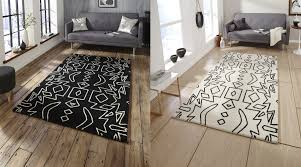 monochrome tribal floor rug 100 wool hand tufted large mat stylish centre piece