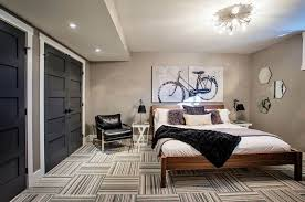 Men's Bedroom With Wooden Bed Frame And Modern Carpet - Awesome ...