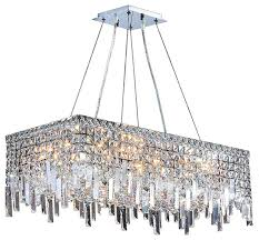 cascade 16 light chrome finish crystal 28 rectangle chandelier