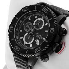 nautica men 039 s stealth black watch chronograph tachymeter date nautica men 039 s stealth black watch chronograph tachymeter date dial leather strap