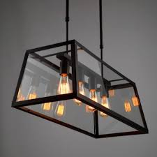 antique milk glass chandelier fresh vintage minimalism industrial black iron clear glass box led e27 4