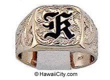 hawaiian ring with custom enamel initial in 14k yellow gold