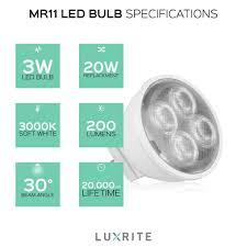 Luxrite Led Lights 4pack Luxrite Gu4 Led Mr11 Bulb 3w 20w Equivalent 3000k Soft