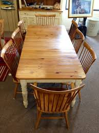 ethan allen country colors table with six side chairs two captain chairs and three leaves was 1 399 now just 999 hutch available also 599