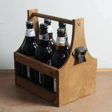 wooden beer carrier with bottle opener uk