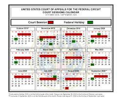 Calendar Of Sessions Us Court Of Appeals For The Federal Circuit