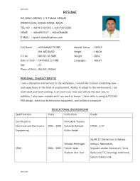 sample of a good resume format sample resume  civic