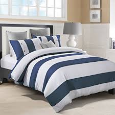 blue striped duvet cover. Wonderful Duvet Amazoncom Superior Addison 100 Cotton Duvet Cover Set With 2 Pillow  Shams Stripe White Waffle Weave And Navy Blue Chambray  In Striped S