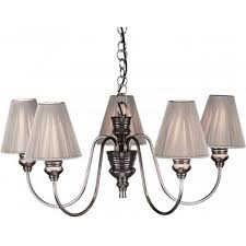 doreen 5 light ceiling pendant in pewter finish with silver string silk shades