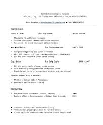 Format On Resume Format Of Chronological Resume Chronological Resume