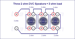 subwoofer wiring diagrams three 2 ohm dual voice coil dvc speakers voice coils wired in parallel speakers wired in series recommended amplifier stable at 2 or 1 ohm mono
