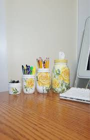 Image Yellow Accents Image Etsy Yellow Rose Mason Jar Office Desk Decor Setoffice Desk Etsy
