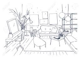 coffee table drawing. Monochrome Drawing Of Interior Living Room With Sofa, Chairs, Coffee Table And Other