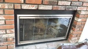 custom made satin nickel finished fireplace glass doorslucky sully