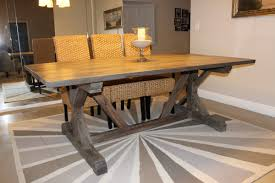 rustic dining table diy. diy trestle solid wood farmhouse dining table with glass candle holder and 3 rattan chairs high back for small rustic room spaces ideas diy