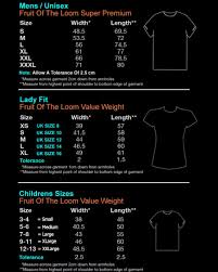 Fruit Of The Loom Ladies T Shirt Size Guide Coolmine