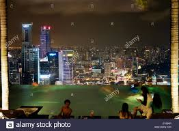 Enjoying Singapore City Skyline night view at MBS Infinity Pool