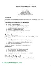 Resume Objective Examples For Restaurant Server Awesome Server